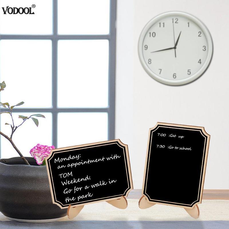 10Pcs/Lot Wooden Mini Blackboard Craft Message Chalkboard Calkbourd Sign Wedding Decor Framed Table Stand Store Office Supplies