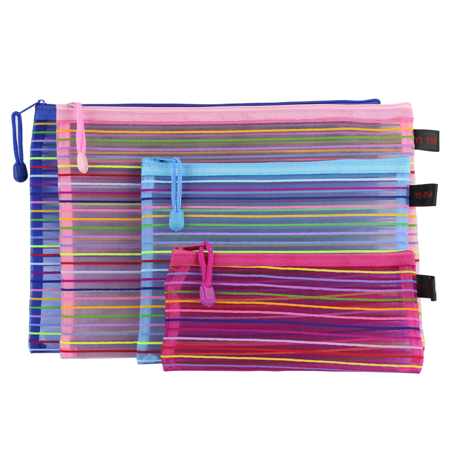 5pcs Rainbow Stripe A4 A5 B5 Document Bags Simple Nylon Mesh Pouch Office File Bag With Zipper School Supplies Stationery