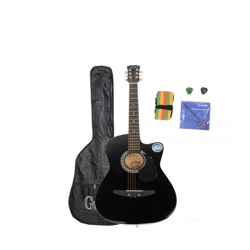 csp 38c 38 basswood cutaway acoustic guitar black with bag strap pick black zakk wylde in. Black Bedroom Furniture Sets. Home Design Ideas