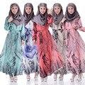 Adogirl muselina de gasa dress nueva primavera las mujeres de impresión floral de la manga completa musulmana abaya oriente medio largo maxi vestidos con cinturón