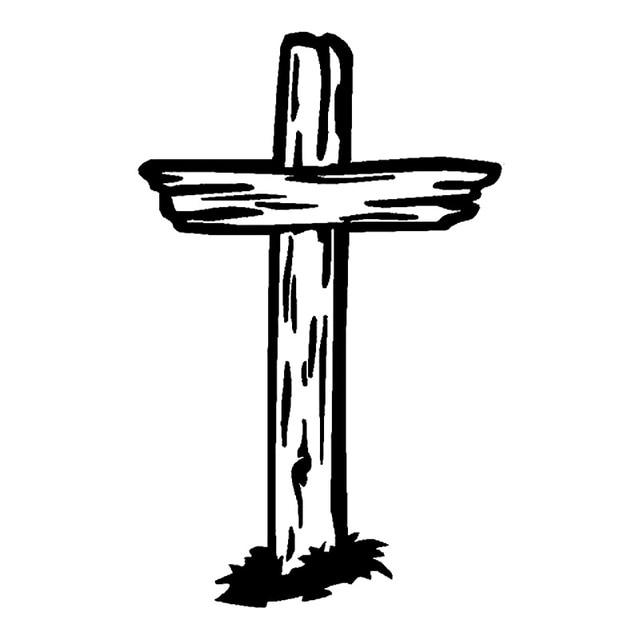 10.4cm*16.4cm Wooden Cross Christian Jesus Stickers Decals