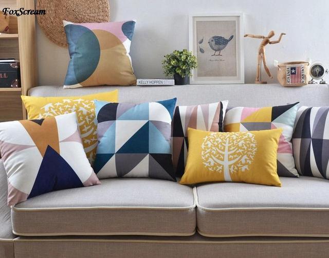 Scandinavian Pillow Case Decorative Pillows Blue Cushions Cover Home Decor Velvet Throw Yellow Pillowcase For