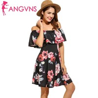 ANGVNS Women Casual Sleeveless Floral Print Slash Neck Pullover A Line Mini Dress Summer Spring 2018