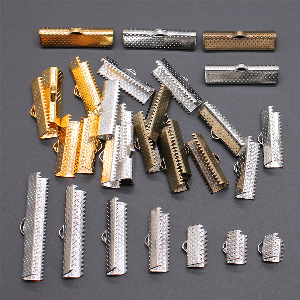 50pcs Cord Crimp End Beads Buckle Tips Clasp Cord Flat Cover Clasps For Jewelry Making Findings DIY Bracelet Connectors