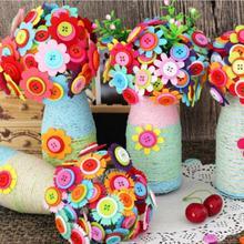 42d8c2f3f Con botón botella flor ramo plástico kit paño artesanía para niños DIY set  de costura Material