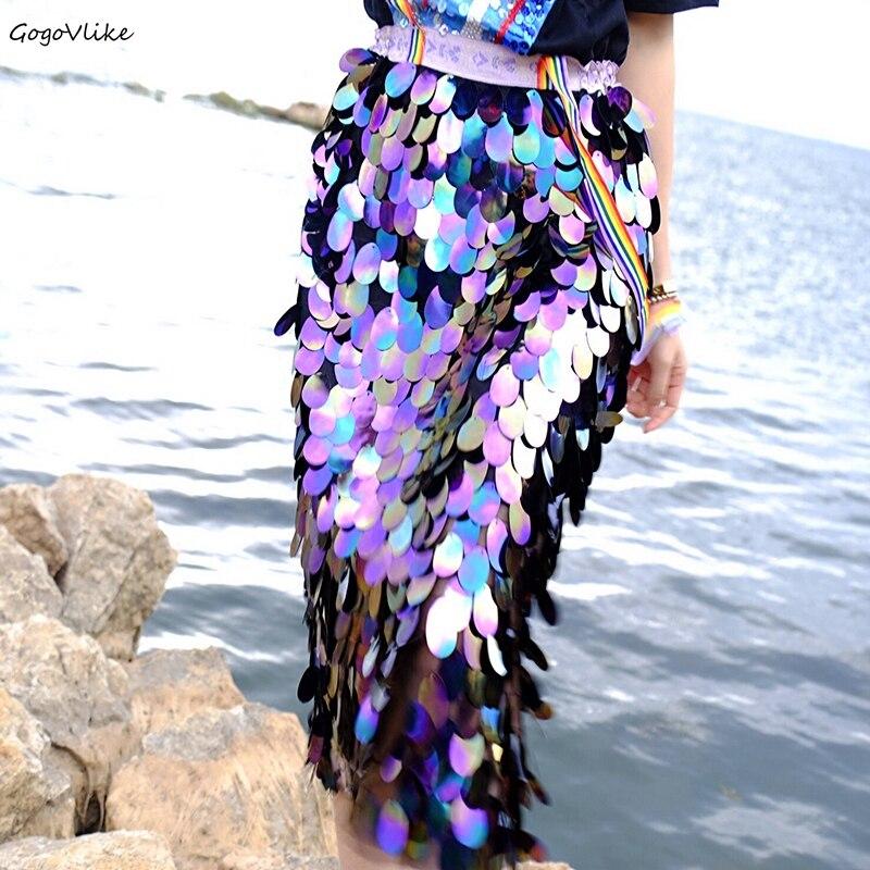 Bling paillettes sirène jupe taille élastique 2018 femmes taille haute jupe Feminino scintillant fête jupes Style coréen LT623S50