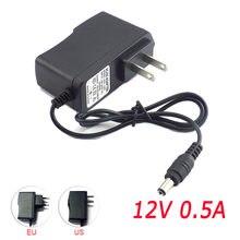 500mA convertisseur de puissance adaptateur d'alimentation ca à cc 12V 0.5A alimentation US EU Plug Switch 5.5mm x 2.1mm pour bande lumineuse 100-240V