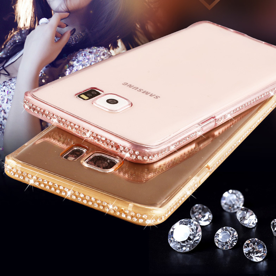 1605362a9bb Diamond Rubber Bling Case For Samgung S8 Plus S7 Edge S6 S9 Note 9 A3 A5