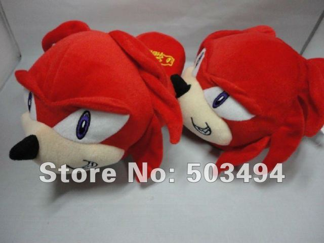 Free Shipping 1 pair  New Sonic Plush Slippers Indoor Slipper Red Color