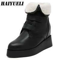 Women Ankle Short Boots Shoes Casual Platform Pointed Toe Snow Boots Winter Fashion Thick Wedges Boots