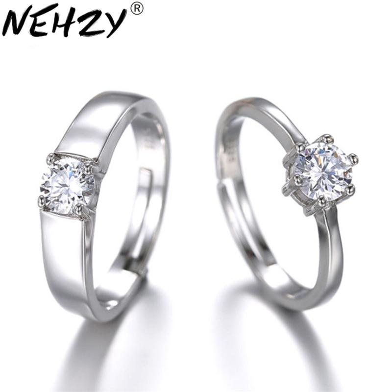 Gewissenhaft Hohe Qualität Silber Paar Ringe Hochzeit Mode Kristallkugel Verlobungsring öffnung Preis Großhandel Schmuck Ein Paar