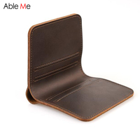 New Split Leather Wallet High Quality Handmade Purse 4 Card Bit Simple Style Short Wallet For
