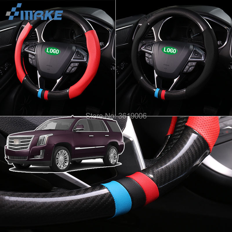 smRKE For Cadillac Escalade Steering Wheel Cover Anti-Slip Carbon Fiber Top PVC Leather Sport Style