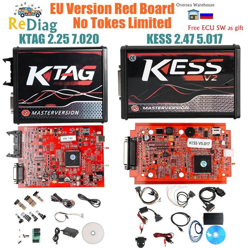 Mais novo KESS V2.47 V2 V5.017 OBD2 Gerente DA UE Online Red PCB Versão BDM KTAG Programação ECU 4LED V2.25 7.020 Mater sonda 22pcs
