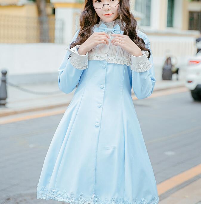 Women British Style Long Sleeve Bow Dress Elegant Classic Lolita OP Dress брюки sisley sisley si007ewartp5