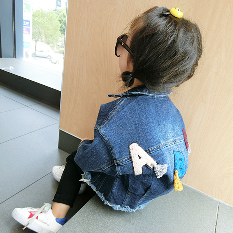 New 2017 Spring Autumn Girls Clothes Boys Girls Outerwear Kids Outerwear Coats Baby Boy Denim Jacket Letters ABC Applique Coat