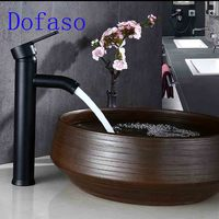 Dofaso Stainless Black Bath Faucet In Basin Cold And Hot Water Mixer Taps 30cm High Deck