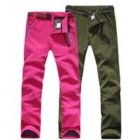 Outdoor Hiking Pants Men Women Breathable Softshell Trousers Waterproof Windproof Thermal Fleece Pants Ski Climbing