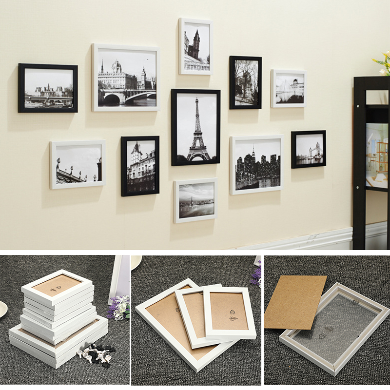 11Pcs Wall Hanging Photo Frame Set Family Picture Display Modern Art Home Decor For Hallway Bedroom