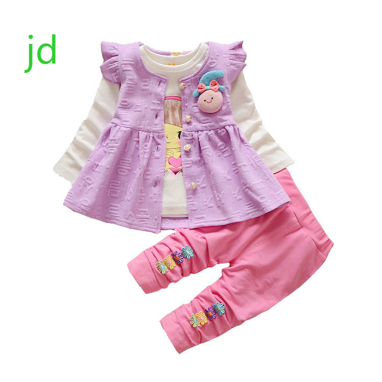 2018 Children's Garment Spring Clothes New Pattern Male Girl Cartoon A Doll Three-piece Child Suit Boys Clothing Sets pink wool coat doll clothes with belt for 18 american girl doll
