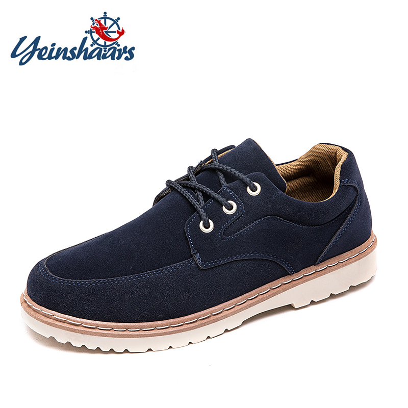 YEINSHAARS Fashion Men Casual Shoes New Men Flats Lace Up Male   Suede   Oxfords Men   Leather   Shoes Work Shoes