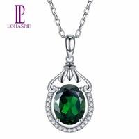 Lohaspie Diamond Jewelry Natural Gemstone Chrome Diopside Diamonds 18K White Gold Pendant Necklace Fine Fashion Stone