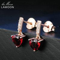 Lamoon Trendy 0.6ct Cuore Naturale Rosso Granato Dell'argento Sterlina 925 Orecchini di Goccia Gioielli 18 K Oro Rosa Placcato S925 LMEI030