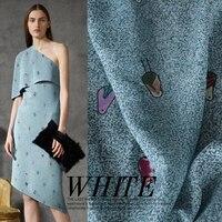 Jiangnan new impression 01 crepe DE chine silk stretch satin printed cartoon birds mulberry silk dress material fabrics