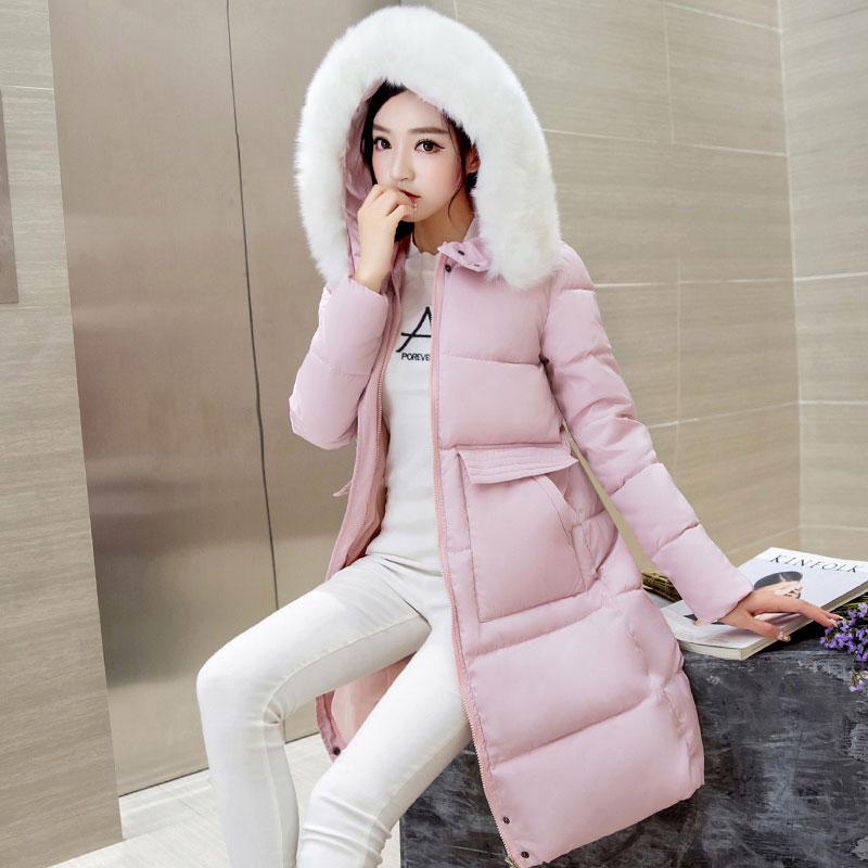 Épais Fourrure Capuchon Section Mode gray pink À D'hiver Grand Vêtements Black Slim Mi De Longue Nouveau Coton Col Coton Femmes rembourré Wmswjh p1wqTv7q