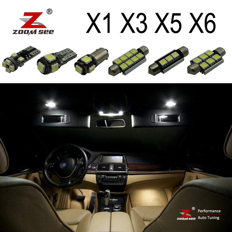 100% идеальный белый безошибочный Canbus Светодиодная Лампочка внутренняя карта купольный светильник комплект для BMW X1 E84 X3 E83 F25 X5 E53 E70 X6 E71 (00-15)