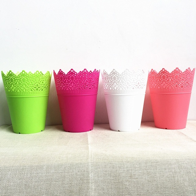 5 Piece Plastik Berongga Pola Vas Sisi Silinder Permen Warna Untuk