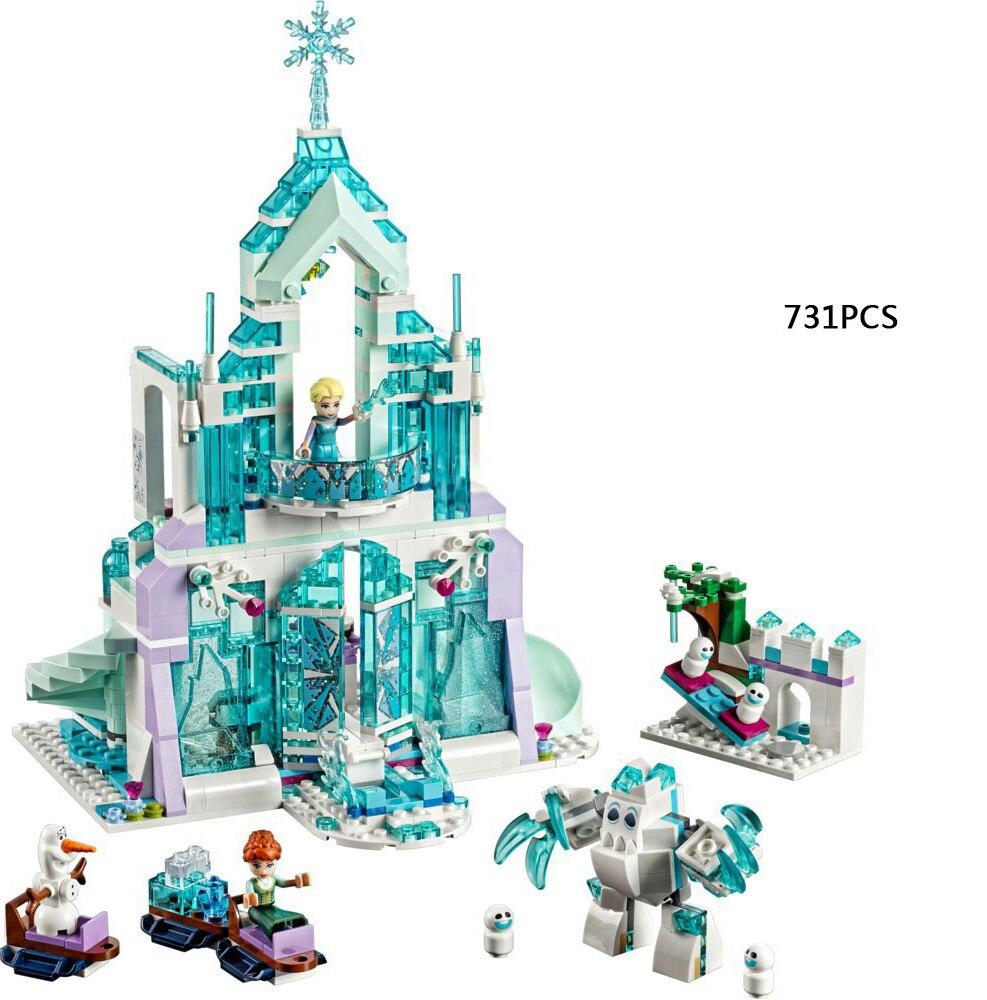 Hot fairy tale princess Snow queen Elsa Magical ice Palace building block Anna castle bricks Olaf figure brick 41148 toys lele 79168 elsa queen lainio snow village bricks toys minifigures building block toys best legoelieds