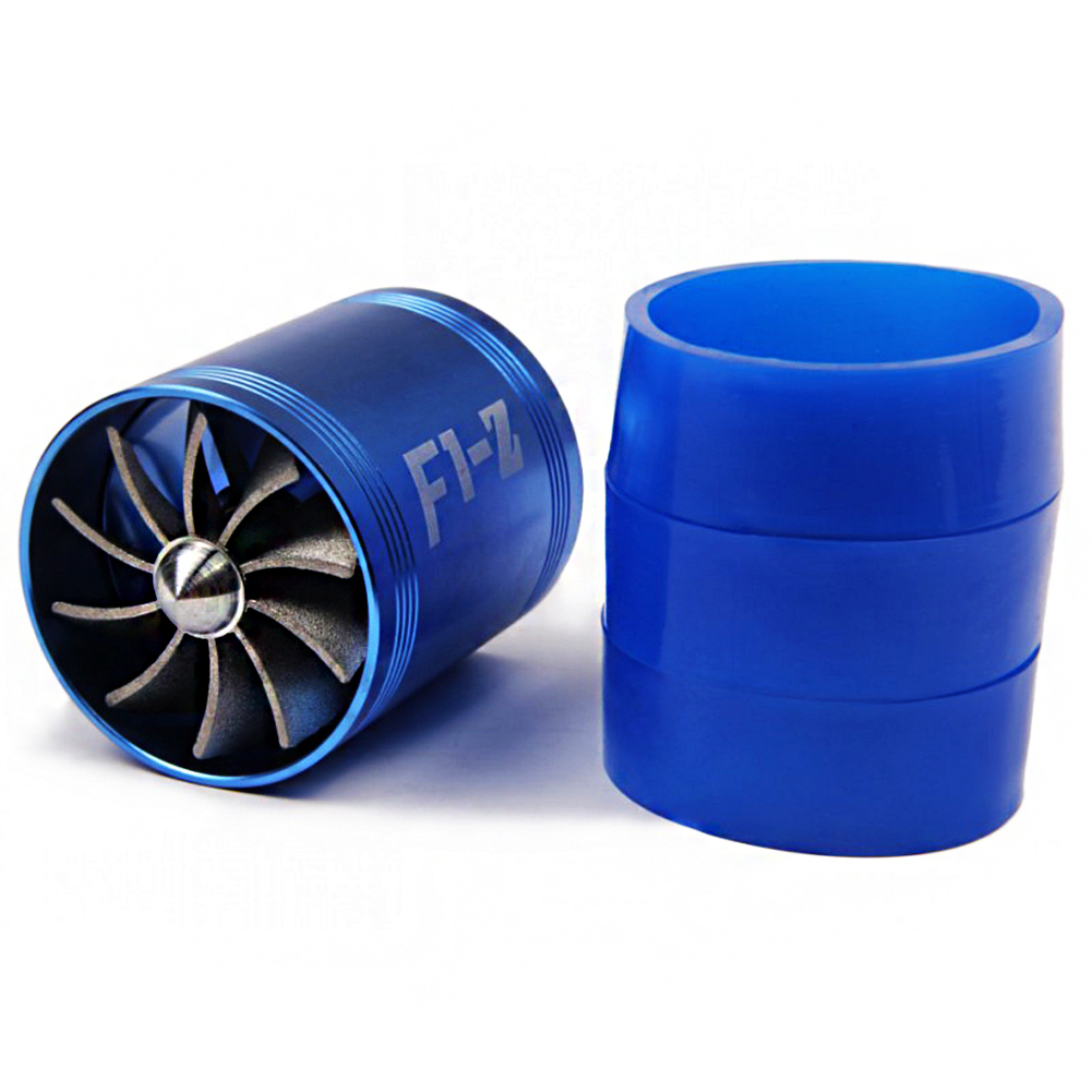 Double Supercharger Car Modification Turbo Air Intake Turbine Gas Fuel Saver Fan Turbine Fit for 65-74mm Air Intake Hose