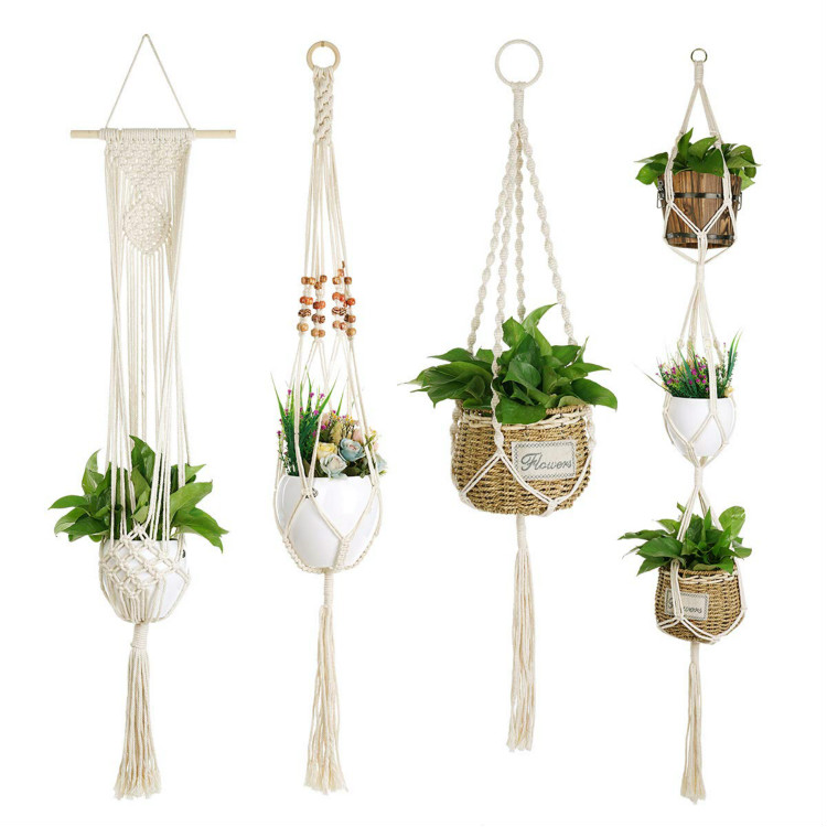 Macrame Plant Hanger, Homecito Handmade Cotton Hanging Planters Indoor Outdoor Wall Ceiling Holder for Flo