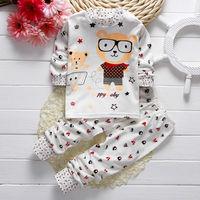 Toddler Baby Boys Girls Long Sleeve Pyjamas Captain Giraffe Rabbit Print Pajamas Set Nightwear T Shirt