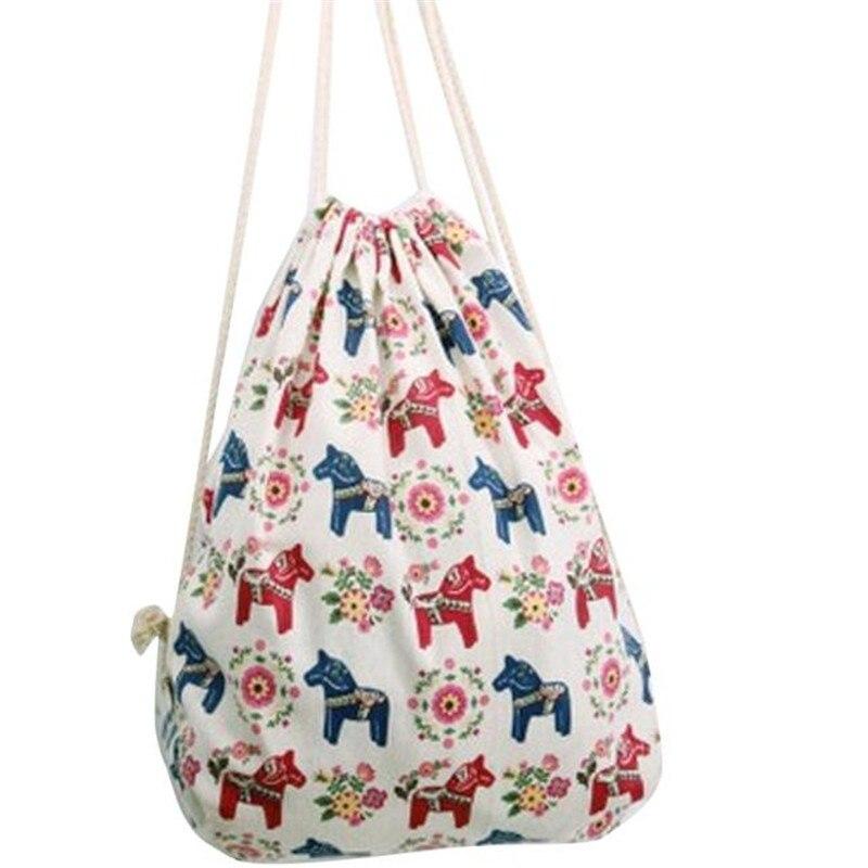 Women bags Drawstring Backpacks horse Printed men High-capacity school Kid's harajuku Travel Beach Bag mochila escolar 2017 drawstring bags