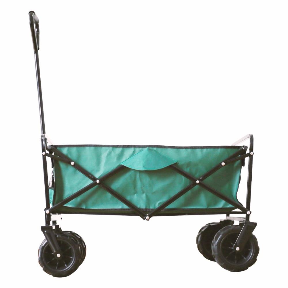 Yardeen Folding Camping Wagon Garden Cart Outdoor Canvas Fabric Garden Beach Sport Picnic Heavy Duty Shopping Cart Wagons green