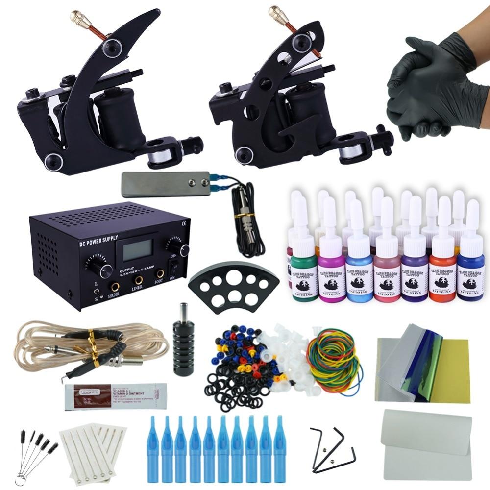цена на Professional Tattoo Kit 2 Machine Gun 14 Color Inks Power Supply Complete Tattoo Kits Tattoo Machine Set