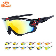 OBAOLAY Outdoor Cycling Sunglasses Polarized Bike Glasses 3 Lenses Mountain Bicycle UV400 Goggles MTB Sports Eyewear for Unisex
