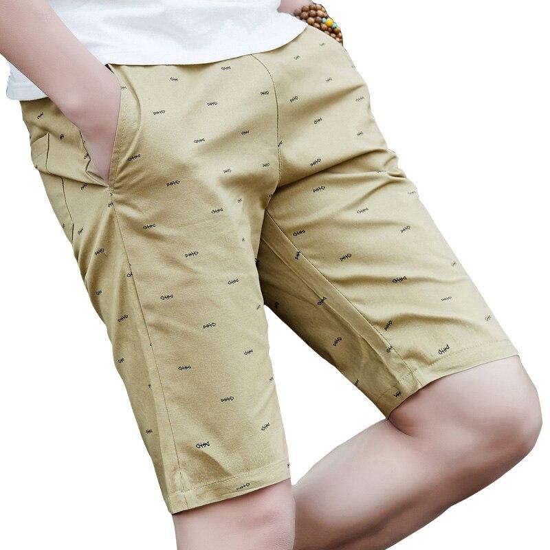 2019 Summer New Men Shorts Cotton Casual Shorts For Men Elastic Waist Summer  Fish Bone Printed Khaki Beach Shorts  4XL 5XL