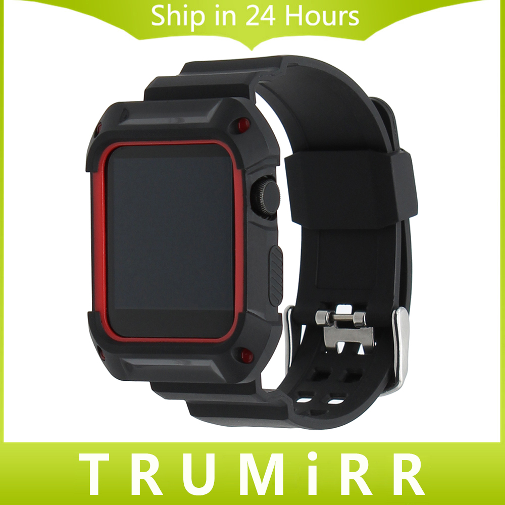 TPU Rubber Watchband with Protective Case for 38mm 42mm iWatch Apple Watch Band Wrist Strap Bracelet