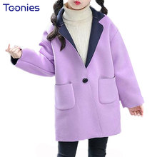 Фотография New Fashion Girls Coats 2018 Winter Thicken Clothes Solid Girl Long Jackets Big Pockets Kids Outwear Parkas Teenager Trench Coat