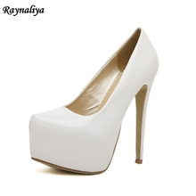 Women 15cm Extreme Sexy High Heel Pumps Big Size 35-44 Platform Heels Pumps Ladies White Red Blue Wedding Shoes MS-A0005
