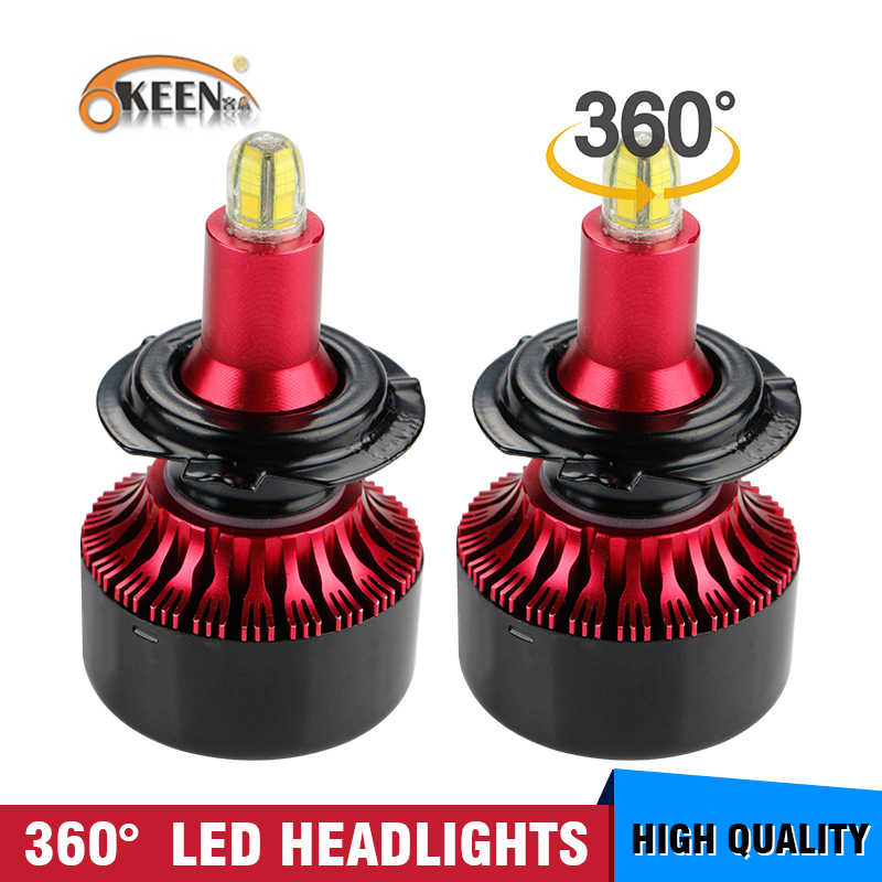 OKEEN 8 Sides LED H4 H7 H11 H1 Headlight Bulbs 60W 13500LM 360 Degree 6000K White H11 H8 H3 9005 H7 Led Lights For Auto fog lamp