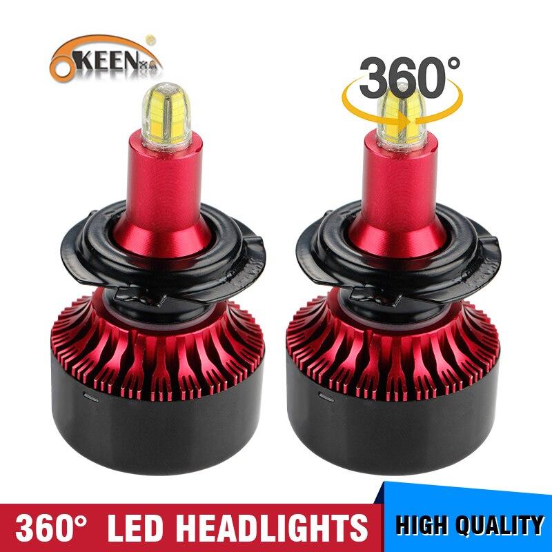 OKEEN 8 Sides LED H4 H7 H11 H1 Headlight Bulbs 60W 13500LM 360 Degree 6000K White H11 H8 H3 9005 H7 Led Lights For Auto Fog Lamp