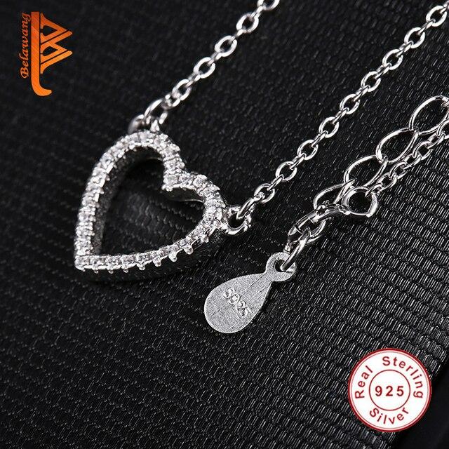 Belawang Echt 925 Sterling Zilveren Liefde Hart Hanger Ketting Voor Vrouwen Aaa Zirconia Ketting Sieraden Valentijnsdag Gift