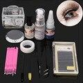 Nuevo Portable Profesional del Kit de Extensión de Pestañas Falsas Pestañas Pegamento Pad Maquillaje Conjunto Completo Con Caja Transparente Para DIY Belleza