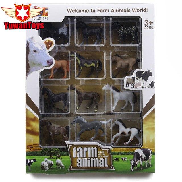 12pcs Set Original Box Horse Series High Simulation Pvc Model Hand Painted Soft Farm Animal