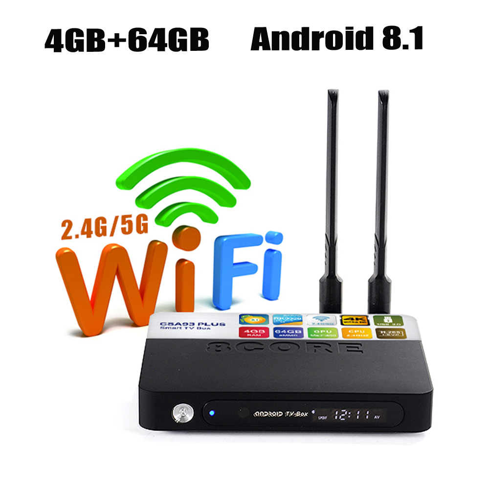 RUIJIE 4G 64G CSA93 PLus Android 8.1 TV Box RK3328 2.4G/5G WiFi 4K Smart Tv 4G 32G Quad Core USB 3.0 Bluetooth 4.0 Media Player