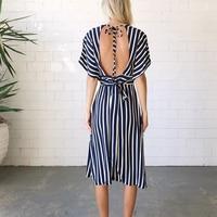 Deep V-Neck Sashes Dress